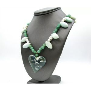 Green marble jade necklace
